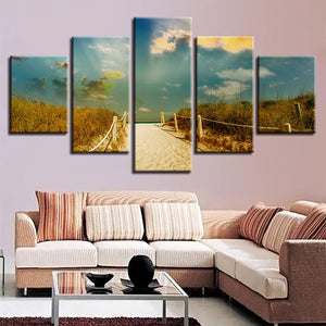 5 Panel Wall Art Beach Path Trail Mood Sea Ocean Paintings Sky Clouds Nature : cheap canvas prints wall paintings pictures