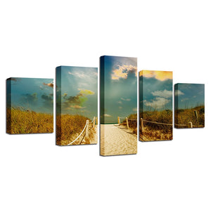 5 Panel Wall Art Beach Path Trail Mood Sea Ocean Paintings Sky Clouds Nature Poster