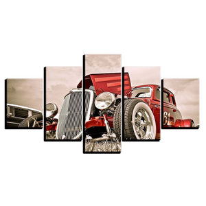 5 Pieces Red Street Hot Rod White Wall Tires Slotted Wheels Wall Art Canvas : cheap canvas prints wall paintings pictures