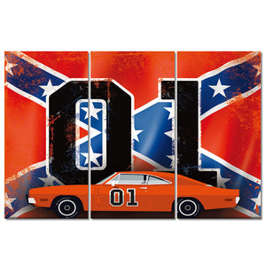 3 Piece Panels The General Lee Dukes of Hazzard 1969 Charger : cheap canvas prints wall paintings pictures
