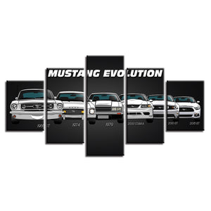 5 Panel Ford Mustang Evolution 6 Generation Panel Wall Art Print Picture