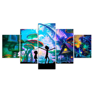 Rick and Morty Starry Stars Night Wall Art Canvas Panel Print Poster Picture