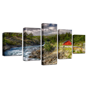 5 Pieces Mountain Trees Stream River Red Barn Landscape Wall Art Print : cheap canvas prints wall paintings pictures