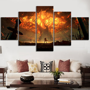 5 Piece Video Game World of Warcraft DOTA Canvas Wall Art Print Poster