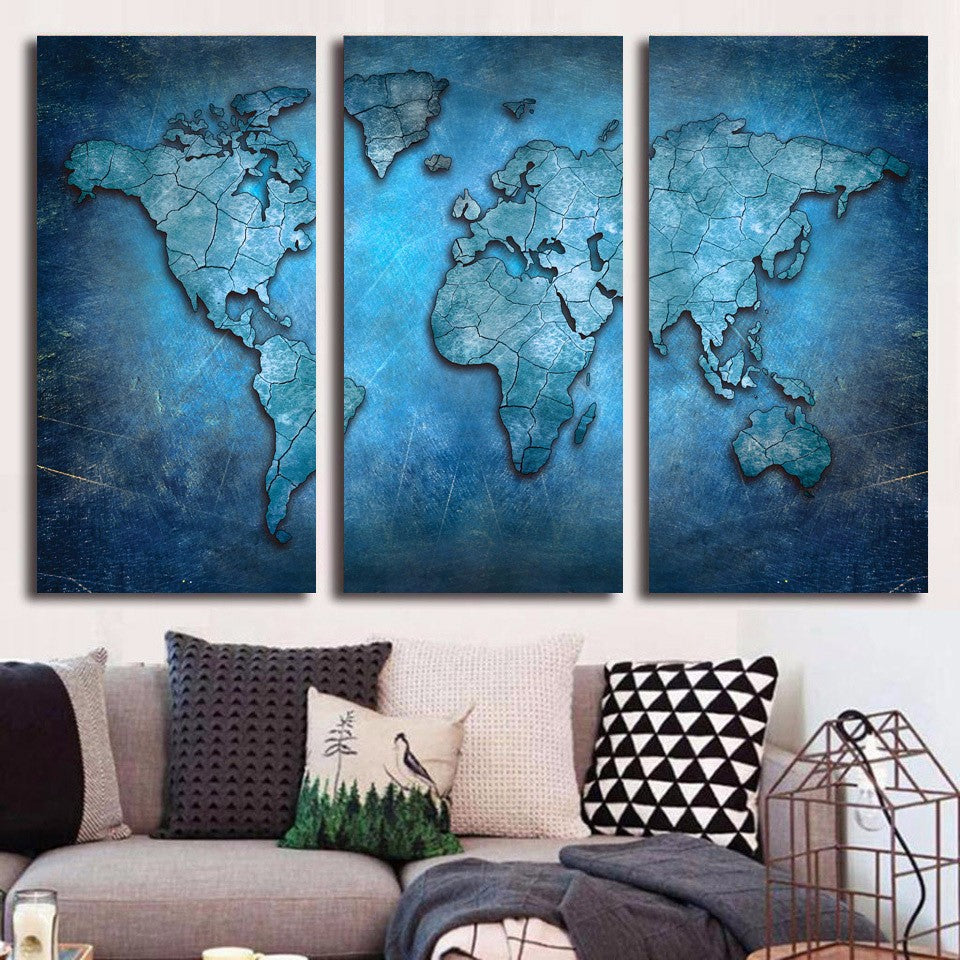 3 Panel Wall Art Alluring 3 Panel Wall Art  Blue Abstract World Map Print On Canvas  Ash Design Ideas