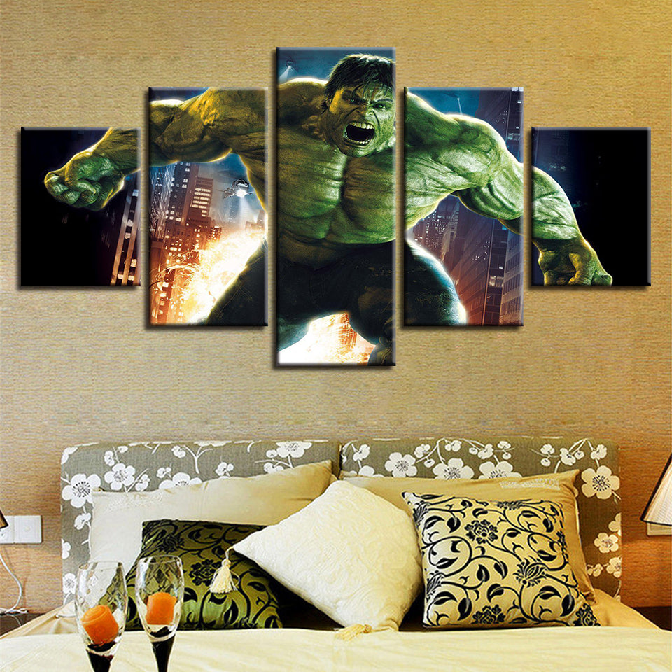 5 Pieces Movie Hulk Painting Home Bedroom Or Living Room Decoration Wall  Art : Cheap Canvas