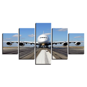 5 Pieces Pcs Panels Jet Airplane Takeoff Runway Pilot Wall Art Canvas Panel : cheap canvas prints wall paintings pictures
