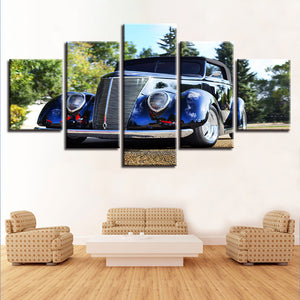 5 Pieces Auto Car Street Rod Blue Wall Art Canvas Panel Print Man Cave : cheap canvas prints wall paintings pictures
