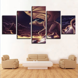 5 Pieces Dragon Wall Art Panel Canvas Panel Print Picture Poster