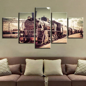 5 Pieces Vintage Railroad Locomotive Train Modular Picture Canvas Wall Frame : cheap canvas prints wall paintings pictures