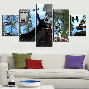 5 Pieces Star Wars Darth Vader Canvas Wall Art Print Movie Poster Bedroom