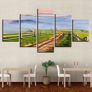 5 Pieces Mountain Farm House Path Field Scenery Canvas Picture Panel Print : cheap canvas prints wall paintings pictures