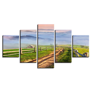 5 Pieces Mountain Farm House Path Field Scenery Canvas Picture Panel Print