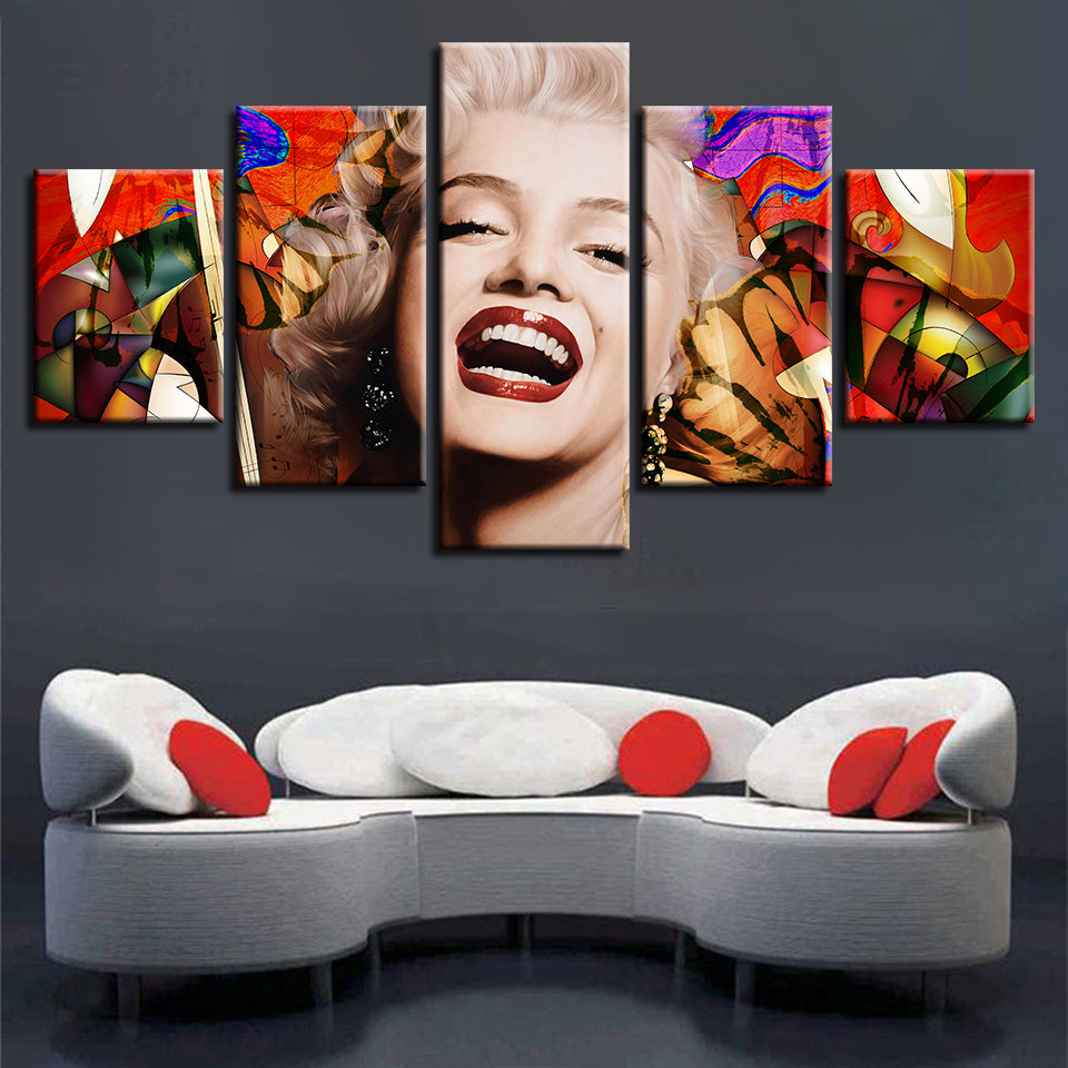 dbb54709b60 5 Pieces Famous Actress Marilyn Monroe Modular Canvas Wall Art Picture  Poster   cheap canvas prints