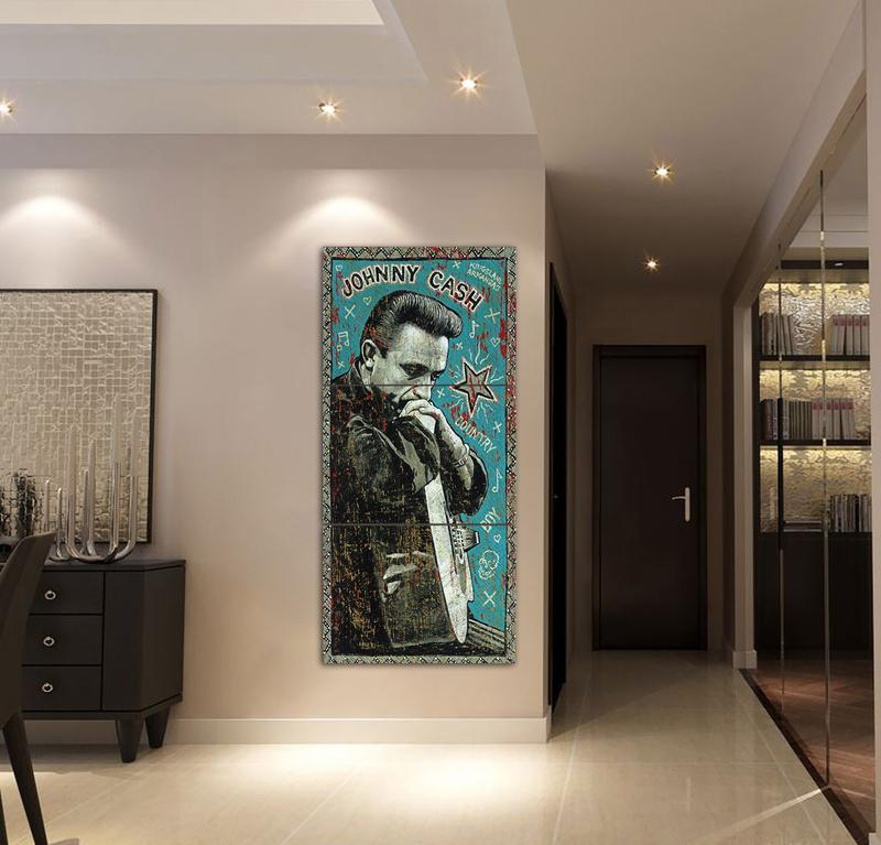 3 Pieces Johnny Cash Singer Blue High Quality Canvas HD Print Wall ...