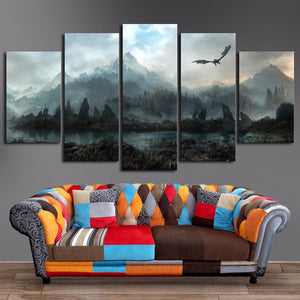 5 Piece Printed Canvas Skyrim Home Decor Wall Art Canvas Print