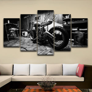 5 Panel Vintage Bobber Old School Bike Motorcycle Man Cave Framework Wall Art : cheap canvas prints wall paintings pictures