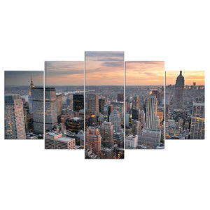 5 Panel New York City Skyscraper Cityscape at Sunset 5pcs wall decoration art : cheap canvas prints wall paintings pictures