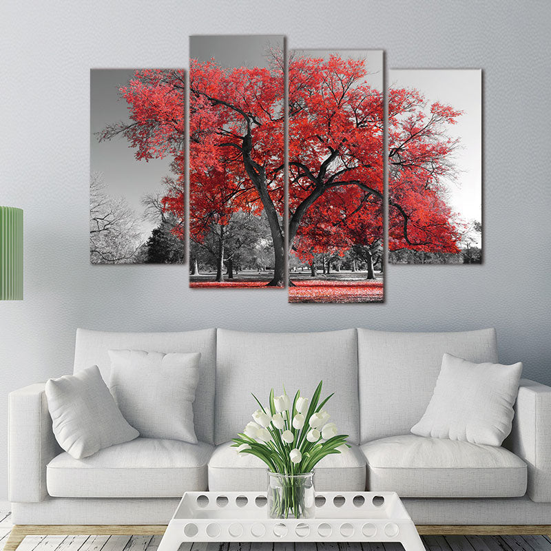 4 Panel Pcs Red Tree Gray Landscape Abstract Canvas Picture Print