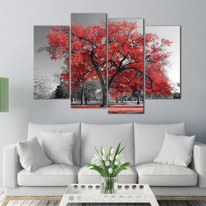4 Panel Pcs Red Tree Gray Landscape Abstract Canvas Picture  Print : cheap canvas prints wall paintings pictures