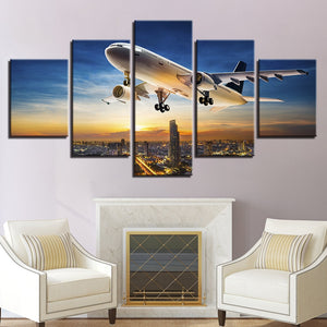 5 Pieces Jet Aircraft Sunset landing Landscape Posters Modular Panel Wall Art : cheap canvas prints wall paintings pictures