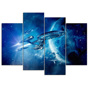 4 Piece panel earth star trek beyond war Canvas Print Room Decor Picture : cheap canvas prints wall paintings pictures