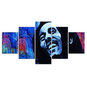 5 Piece Pcs Panels Singer Bob Marley Canvas Panel Print Picture Poster : cheap canvas prints wall paintings pictures