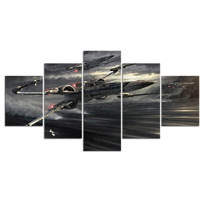 5 Panel Fighter Aviation Jet Movie Game Canvas Wall Art Canvas Panel Print Picture : cheap canvas prints wall paintings pictures