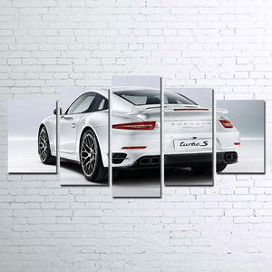 White Exotic Porsche 5 PIECE Wall Art Canvas Panel Print Picture