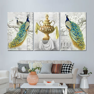 3 Panel Birds Two Peacocks Antique Wall Art Bird Picture Print Decor Living Room : cheap canvas prints wall paintings pictures