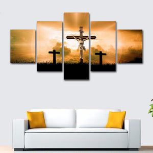 5 Pieces God Jesus Cross Canvas Print Wall Art Panel Picture Modular : cheap canvas prints wall paintings pictures