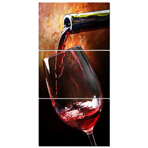 3 Piece Wine Pouring Wine Alcohol Drinks Bar Wall Art Canvas Panel Print