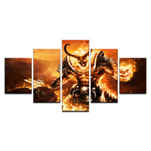 5 Pieces World Of Warcraft Canvas Devil Boss Wall Art Panel Picture