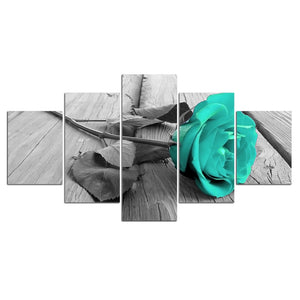 5 Panel Flower Gray Blue Teal Blossom Rose Wall Art Canvas Print