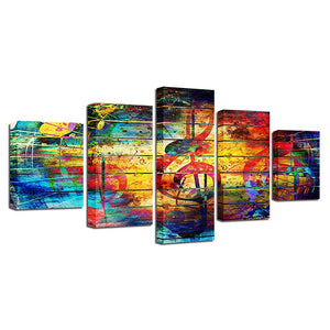 5 Panel Musical Note Living Room HD Printed Modern Music Wall Art