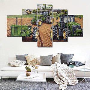 5 Piece Canvas Print Painting Farm Tractor Equipment Canvas Picture Print