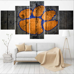 5 Panel Clemson Tigers Paintings Modern Home Decor Canvas Print