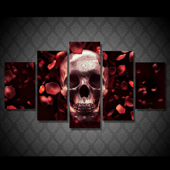HD Printed Red Roses and Skull 5 piece wall art canvas - ASH Wall Decor - Wall Art Picture Painting Canvas Living Room