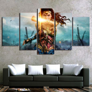 5 Panel canvas panel print Wonder Woman movie wall art canvas art