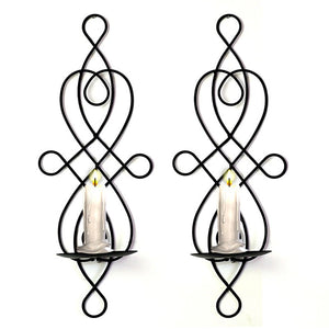 2 Pcs Candle Holders for Living Room Home Wall Decor Black Iron Decorative Candle Holder Sconce