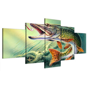 5 Pieces Fish Lake Fishing Wall Art Canvas Panel Print