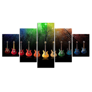 5 pieces canvas painting Picture wall picture abstract guitar art