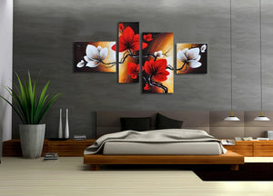 Red Flowers modern abstract oil paintings 100% handpainted, 4 panel set FRAMED - ASH Wall Decor - Wall Art Canvas Panel Print Painting