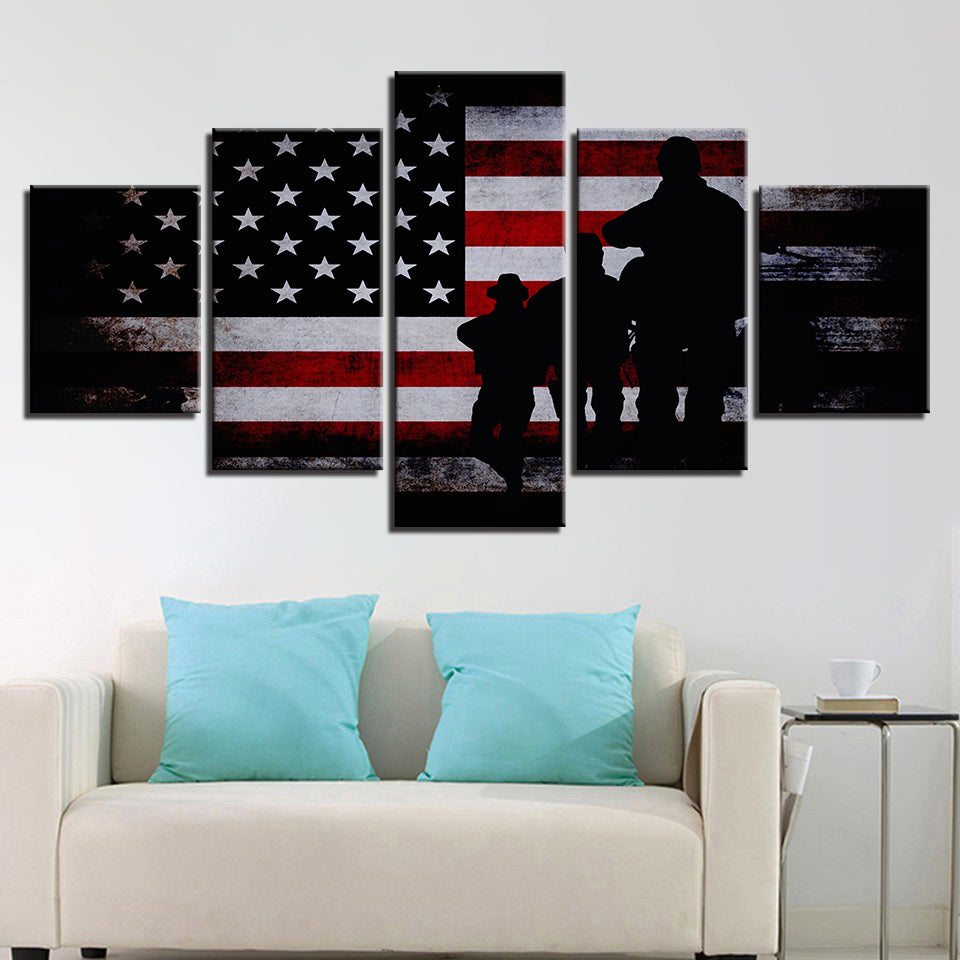 American Flag Soldier Military Wall Art on Canvas Framed Unframed ...