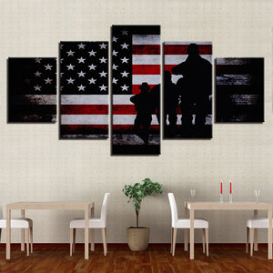 American Flag Soldier Military Wall Art on Canvas Framed Unframed - ASH Wall Decor - Wall Art Canvas Panel Print Painting