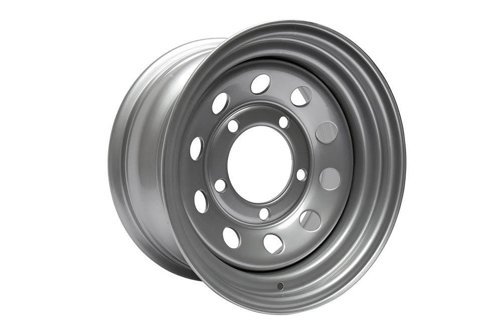 Bearmach 16'' x 8 Silver Modular Steel Wheel for Land Rover Series, Defender, Discovery, Range Rover | BA 015F