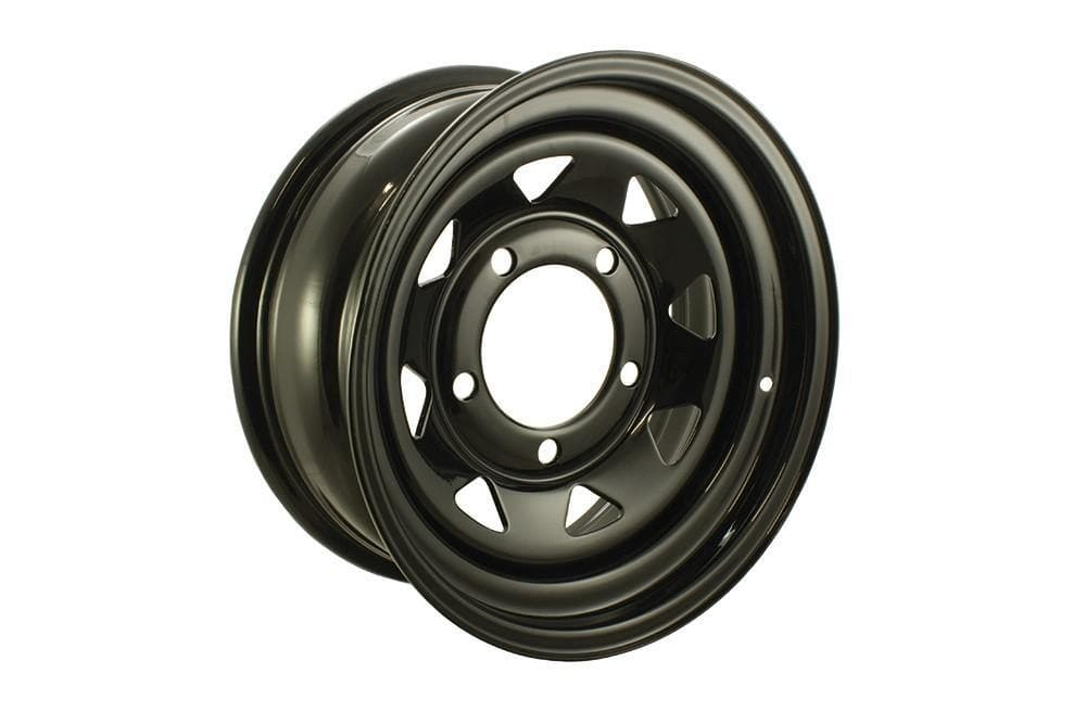 Bearmach 16'' x 7 Black 8 Spoke Steel Wheel for Land Rover Series, Defender, Discovery, Range Rover | BA 015I