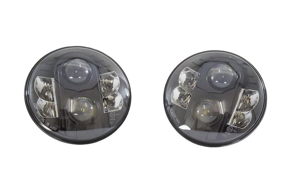 Bearmach Land Rover 7 RHD Black LED Headlight Kit - Pair | BA 070LEDB