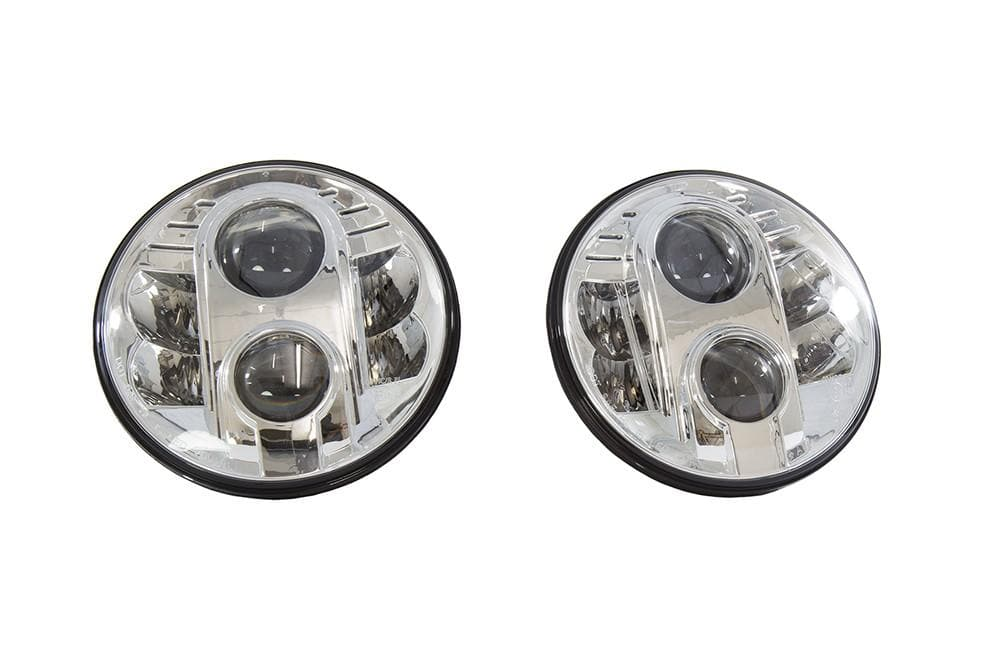 Bearmach 7'' LHD Chrome Headlamp Kit for Land Rover Defender, Range Rover | BA 070LEDL