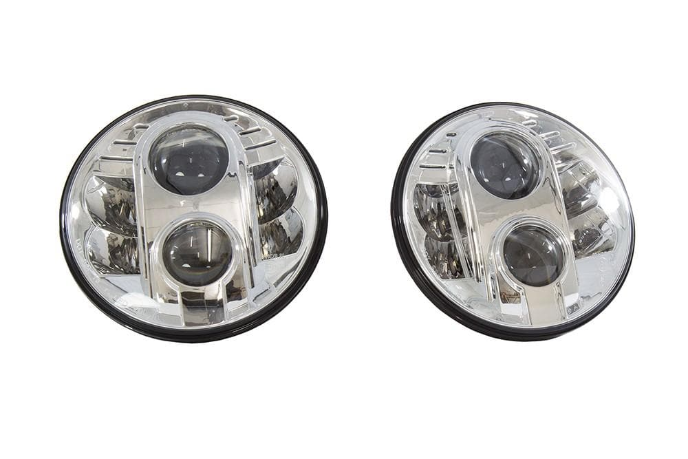 Bearmach Land Rover 7'' RHD Chrome LED Headlight Kit - Pair | BA 070LED
